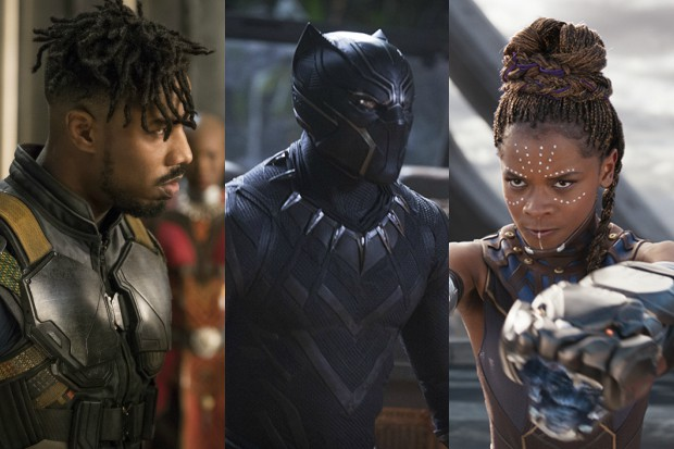 Michael B Jordan, Chadwick Boseman and Letitia Wright in Black Panther (Marvel, HF)