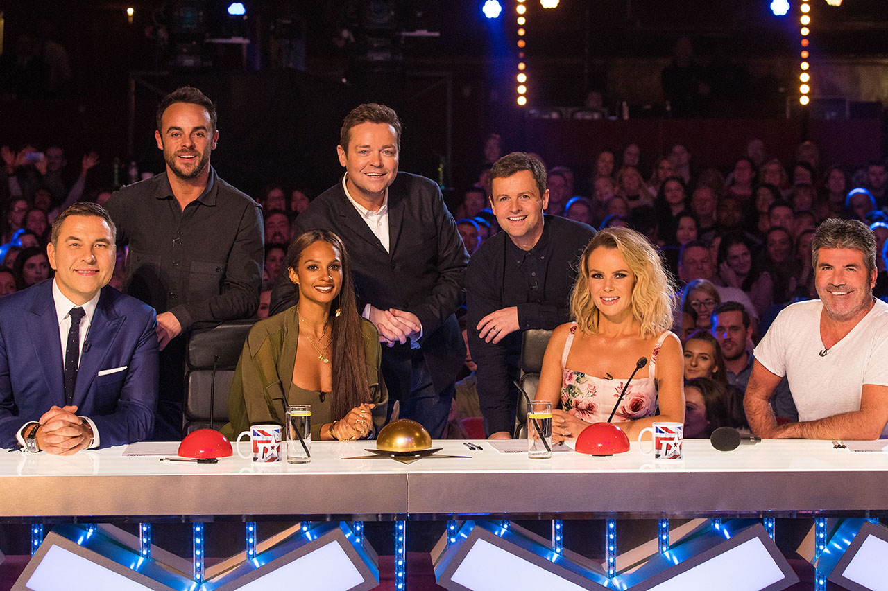 David Williams, Ant McPartlin, Alesha Dixon, Stephen Mulhern, Declan Donnelly, Amanda Holden and Simon Cowell in Britain's Got Talent 2018  (Syco / Thames, JG)