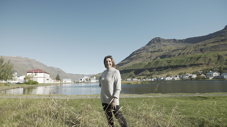 Enjoying the sun in Seydisfjordur in east Iceland