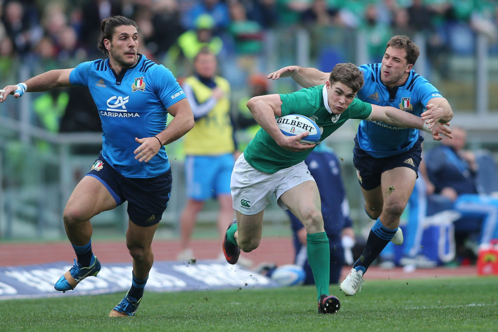 February 11th 2017, Rome, Italy; Garry Ringrose breaks tackles during the  Six Nations tournament  RBS  match between Italy and Ireland at the Stadio Olimpico on February 11, 2017 in Rome, Italy.  (Photo by Marco Iacobucci/Action Plus via Getty Images)