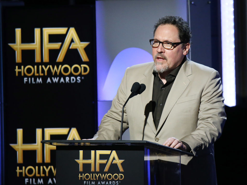BEVERLY HILLS, CA - NOVEMBER 05:  Jon Favreau speaks onstage during the 21st Annual Hollywood Film Awards held at The Beverly Hilton Hotel on November 5, 2017 in Beverly Hills, California.  (Photo by Michael Tran/FilmMagic)