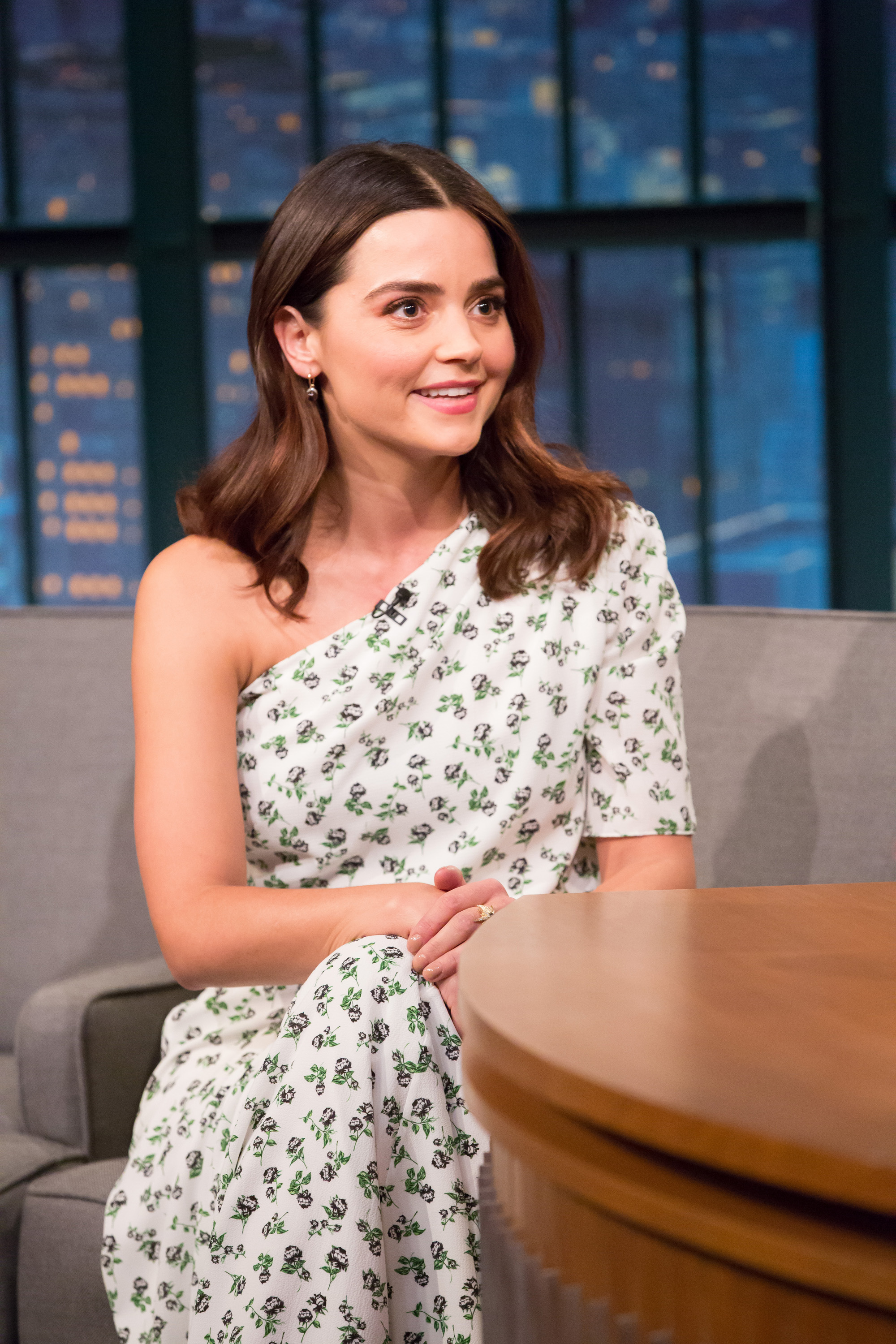 LATE NIGHT WITH SETH MEYERS -- Episode 624 -- Pictured: Actress Jenna Coleman during an interview on December 12, 2017 -- (Photo by: Lloyd Bishop/NBC/NBCU Photo Bank via Getty Images)  Getty, TL
