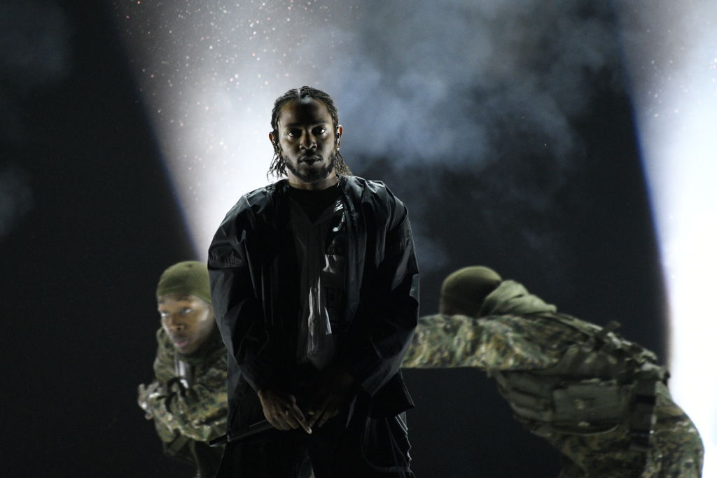 NEW YORK - JANUARY 28: Kendrick Lamar performing at THE 60TH ANNUAL GRAMMY AWARDS broadcast live on both coasts from New York City's Madison Square Garden on Sunday, Jan. 28, 2018, at a new time, 7:30-11:00 PM, live ET/4:30-8:00 PM, live PT, on the CBS Television Network. (Photo by John Paul Filo/CBS via Getty Images)