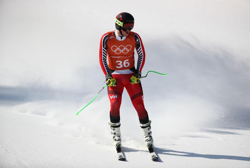 PYEONGCHANG-GUN, SOUTH KOREA - FEBRUARY 08: Broderick Thompson of Canada makes a run during the Men's Downhill Alpine Skiing training at Jeongseon Alpine Centre on February 8, 2018 in Pyeongchang-gun, South Korea. (Photo by Ezra Shaw/Getty Images, BA)