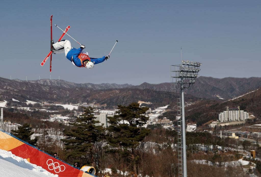 PYEONGCHANG-GUN, SOUTH KOREA - FEBRUARY 08:  Mogul Skier Woo Jae Choi of Korea trains ahead of the PyeongChang 2018 Winter Olympic Games at Phoenix Park on February 8, 2018 in Pyeongchang-gun, South Korea.  (Photo by Clive Rose/Getty Images)