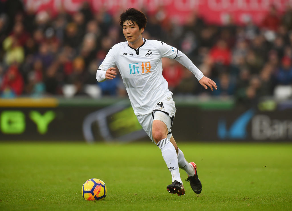 SWANSEA, WALES - FEBRUARY 10:  Ki Sung-Yueng of Swansea City during the Premier League match between Swansea City and Burnley at Liberty Stadium on February 10, 2018 in Swansea, Wales.  (Photo by Tony Marshall/Getty Images)