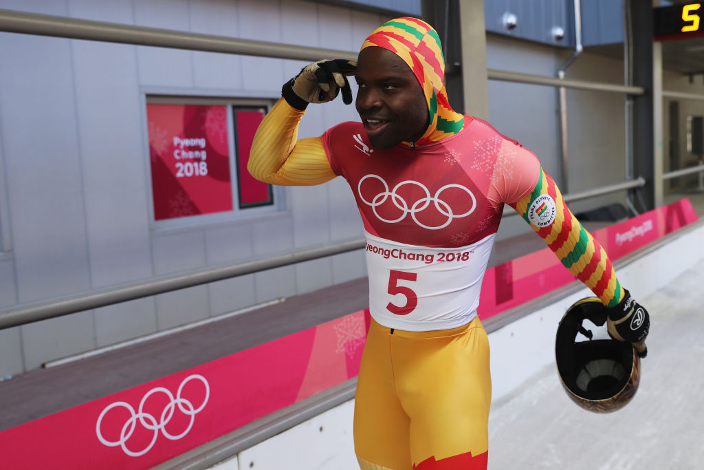 PYEONGCHANG-GUN, SOUTH KOREA - FEBRUARY 16:  Akwasi Frimpong of Ghana reacts in the finish area during the Men's Skeleton heats at Olympic Sliding Centre on February 16, 2018 in Pyeongchang-gun, South Korea.  (Photo by Richard Heathcote/Getty Images)