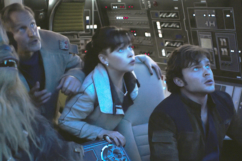 Joonas Suotamo is Chewbacca, Woody Harrelson is Beckett, Emilia Clarke is Qi'ra and Alden Ehrenreich is Han Solo in SOLO: A STAR WARS STORY (LucasFilm, HF)