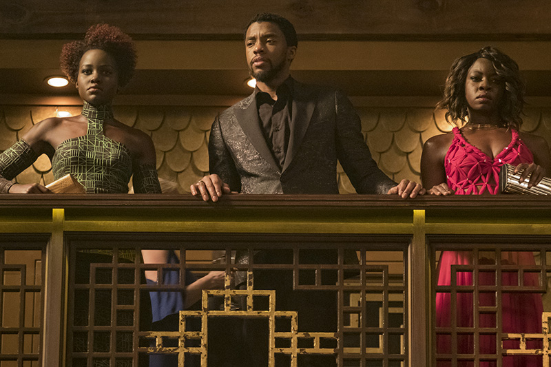 Lupita Nyong'o, Chadwick Boseman and Danai Gurira in Black Panther (Marvel, HF)