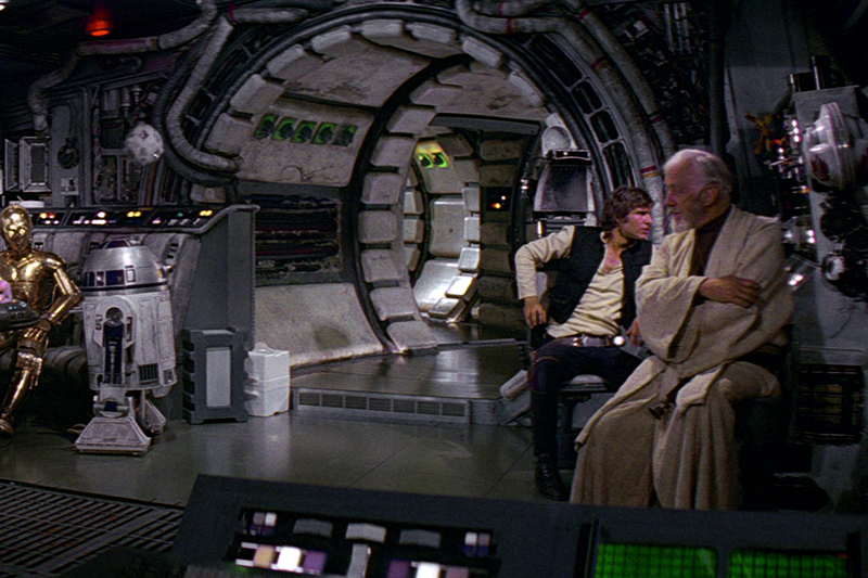 The Millennium Falcon interior in Star Wars: A New Hope (Lucasfilm, HF)