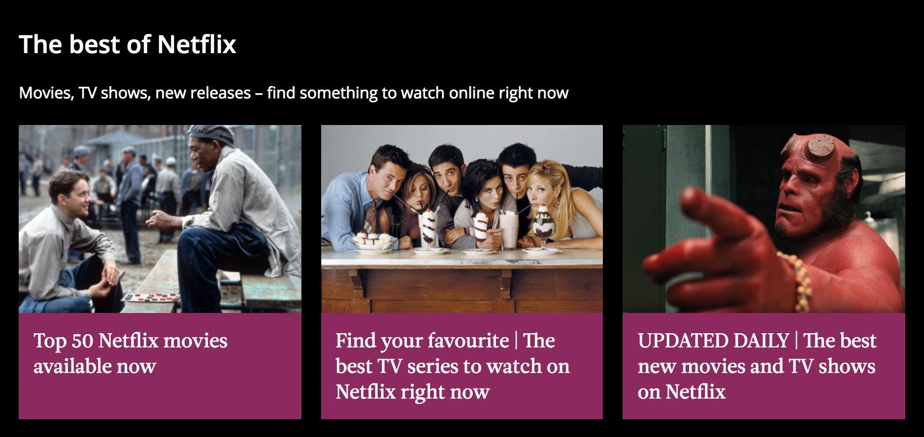 Netflix Radio Times hub page