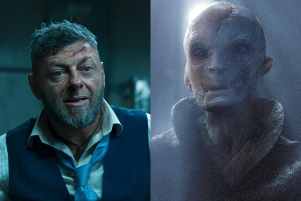 Andy Serkis as Ulysses Klaue in Black Panther and as Supreme Leader Snoke in Star Wars: The Force Awakens (Disney, HF)