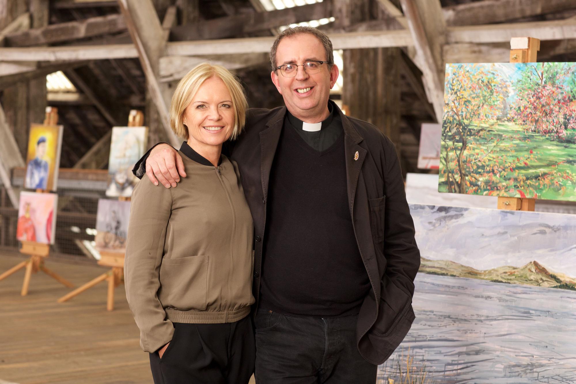 Programme Name: The Big Painting Challenge S3 - TX: n/a - Episode: The Big Painting Challenge S3 - Generics (No. n/a) - Picture Shows: Mariella & Richard (presenters)   - (C) BBC - Photographer: Alan Peebles  BBC, TL