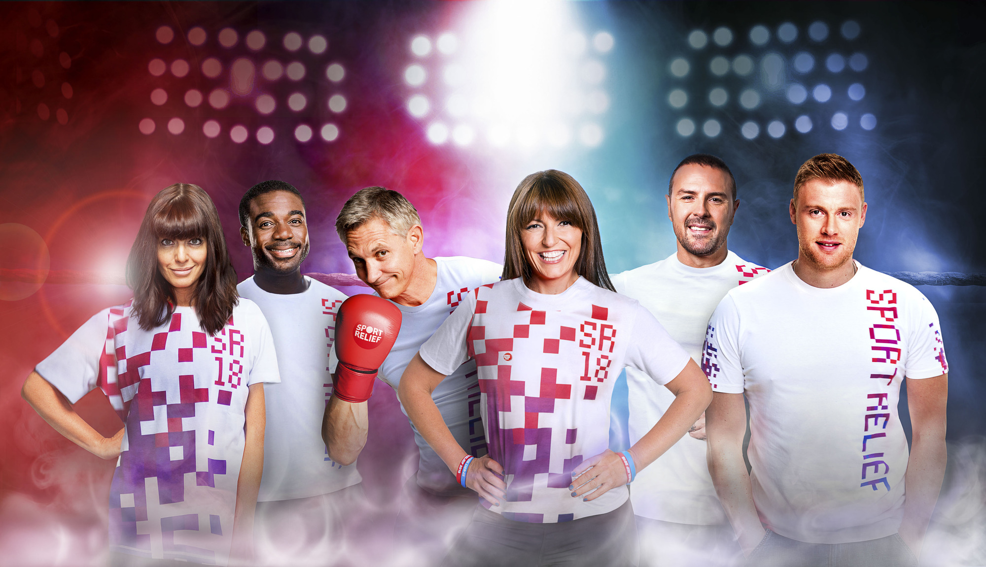 Programme Name: Sport Relief 2018 - TX: 23/03/2018 - Episode: Generic (No. n/a) - Picture Shows:  Claudia Winkleman, Ore Oduba, Gary Lineker, Davina McCall, Paddy McGuinness, Freddie Flintoff - (C) BBC - Photographer: N/A