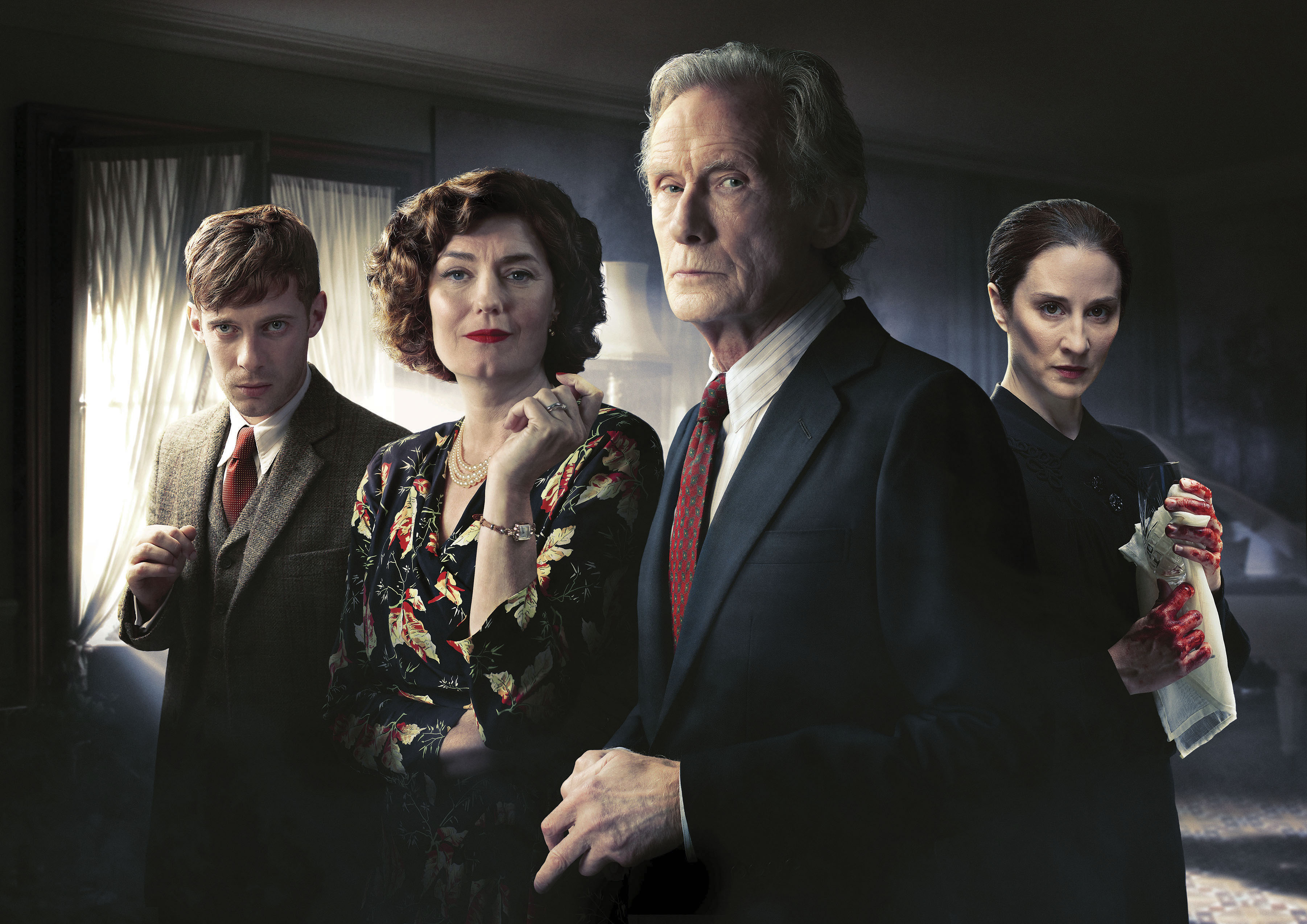 Programme Name: Ordeal By Innocence - TX: n/a - Episode: n/a (No. n/a) - Picture Shows:  Arthur Calgary (LUKE TREADAWAY), Rachel Argyll (ANNA CHANCELLOR), Leo Argyll (BILL NIGHY), Kirsten Lindstrom (MORVEN CHRISTIE) - (C) Mammoth Screen/ACL - Photographer: James Fisher/Joss Barratt  BBC, TL