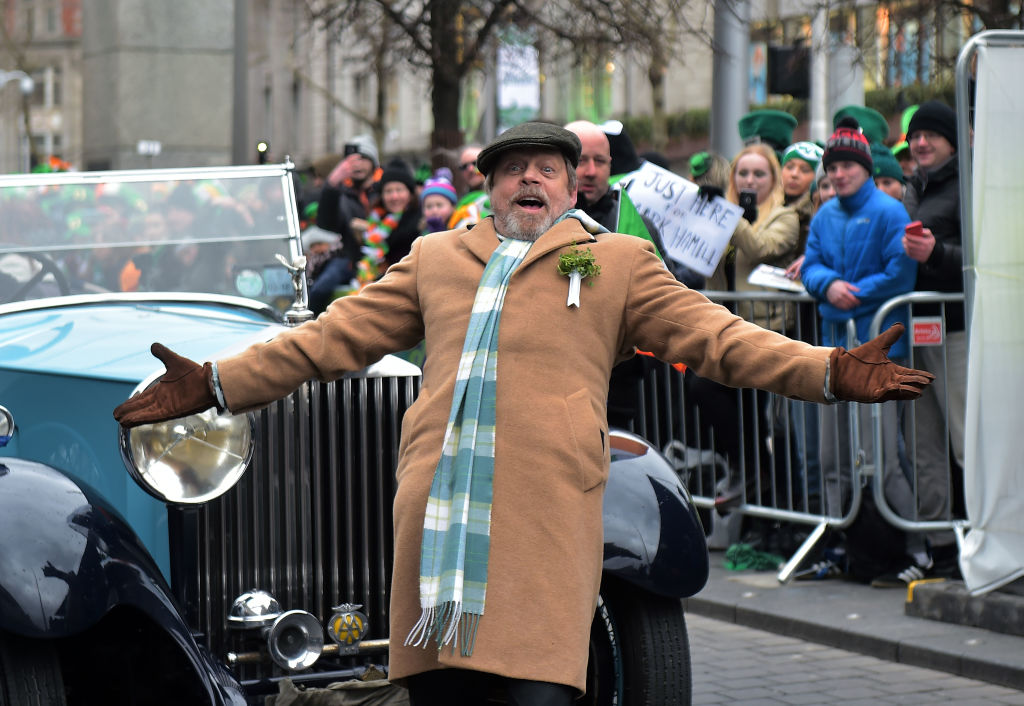 DUBLIN, IRELAND - MARCH 17: Actor Mark Hamill poses as he arrives as the annual Saint Patrick's day parade takes place on March 17, 2018 in Dublin, Ireland. Dublin hosts the largest Saint Patrick's day parade in the world with a route spanning 2.5 km. The Irish annals for the fifth century date Patrick's arrival in Ireland in the year 432 with the patron saint of Ireland's remains believed to be buried at Down Cathedral in County Down. (Photo by Charles McQuillan/Getty Images)