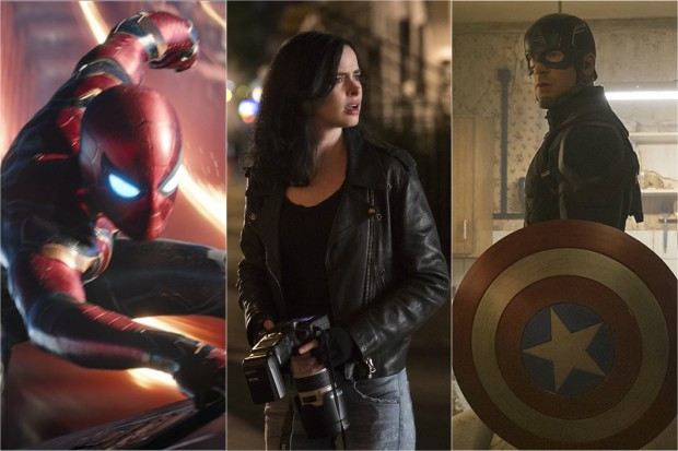 Spider-Man, Jessica Jones and Captain America (Marvel, Netflix, HF)