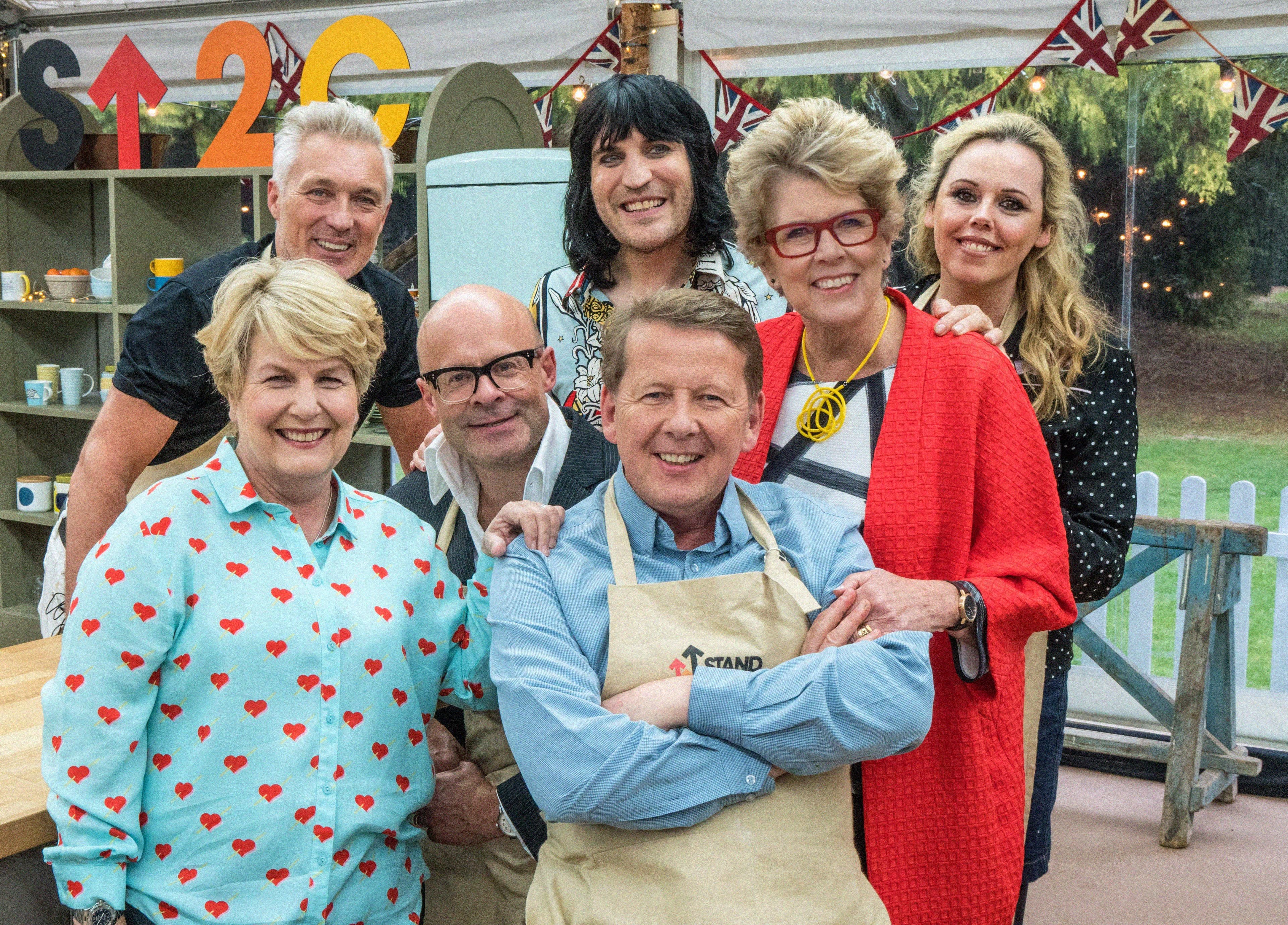 Great British Bake Off: Stand To Cancer 2017: - Bill, Harry, Martin and Roisin, with Sandi, Noel and Paul