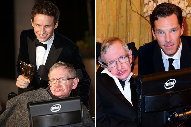 Eddie Redmayne and Benedict Cumberbatch with Stephen Hawking, Getty, SL