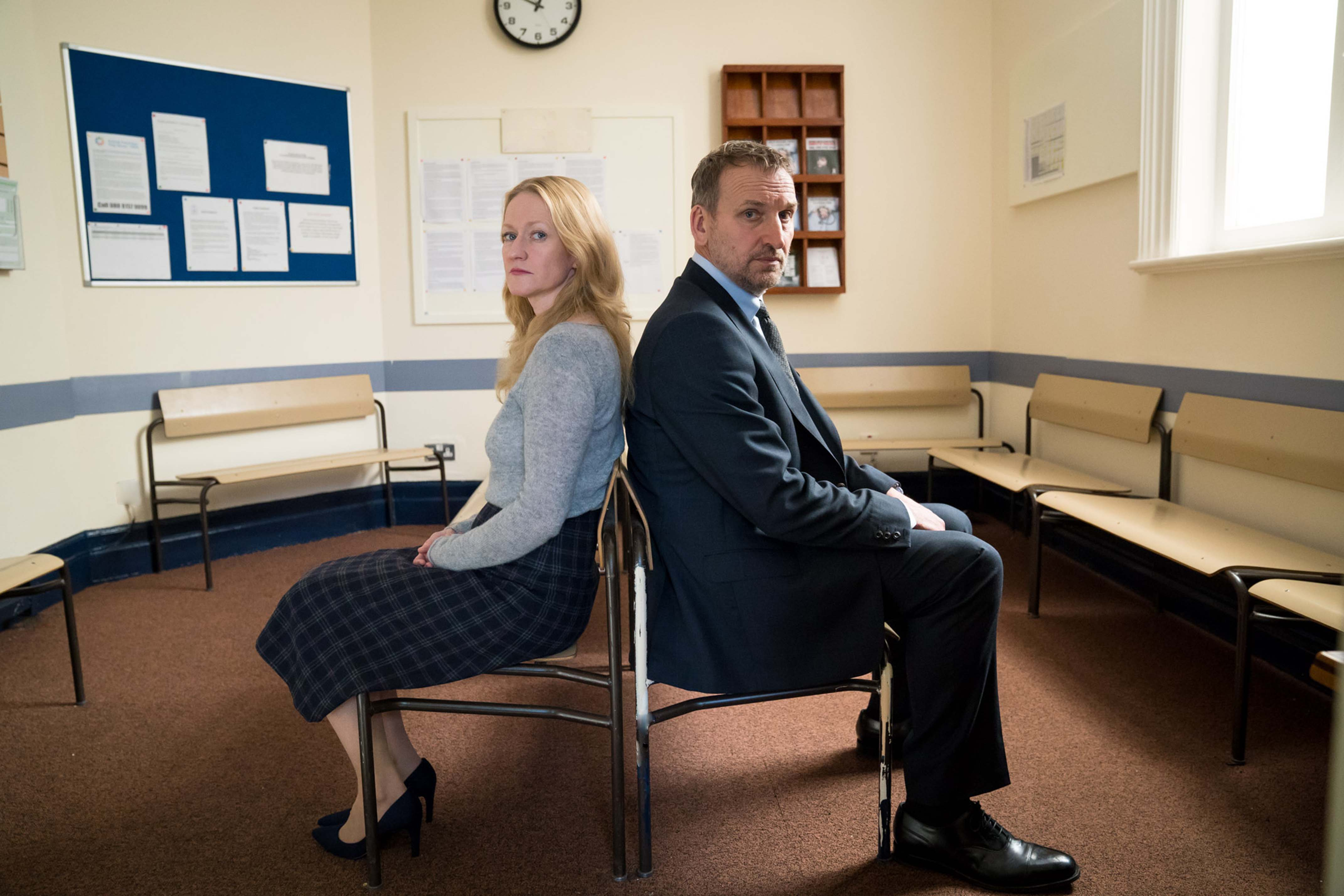 Programme Name: Come Home  - TX: n/a - Episode: Come Home - EP 3 (No. 3) - Picture Shows: Marie and Greg in the court waiting room  Marie (PAULA MALCOMSON), Greg (CHRISTOPHER ECCLESTON) - (C) Red Productions Limited  - Photographer: Steffan Hill
