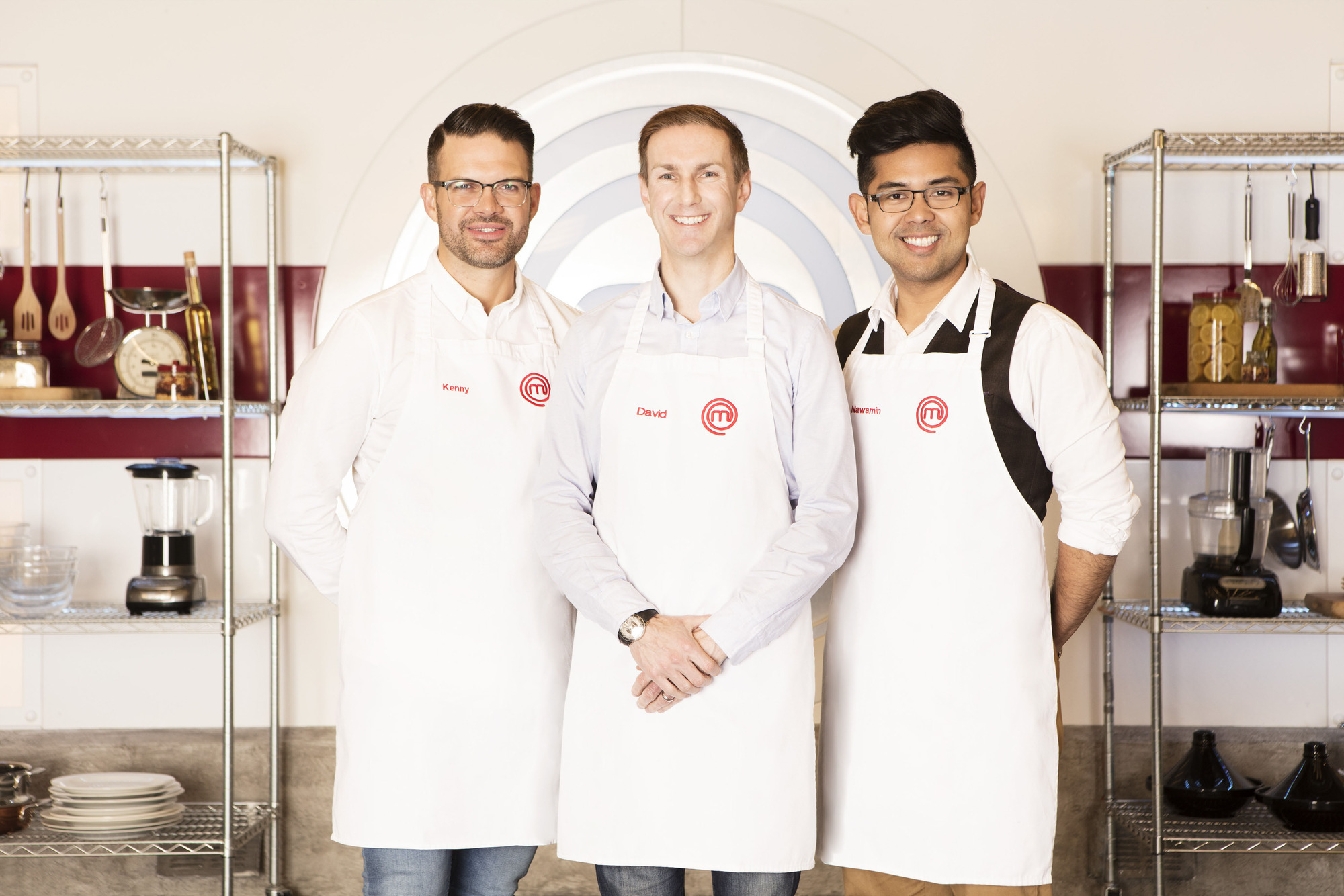 WARNING: Embargoed for publication until 21:01:00 on 12/04/2018 - Programme Name: Masterchef - TX: 13/04/2018 - Episode: The Final 3 (No. The Final 3) - Picture Shows: **STRICTLY EMBARGOED UNTIL 21:01HRS ON THURSDAY 12TH APRIL 2018** (L-R) Kenny, David, Nawamin - (C) Shine TV Ltd - Photographer: Production
