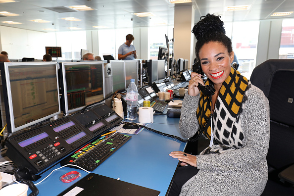 LONDON, ENGLAND - SEPTEMBER 11: Michelle Ackerley, representing Children with Cancer,Êmakes a trade at GFI Charity Day 2017on September 11, 2017 in London, England. (Photo by Tim P. Whitby/Getty Images for GFI & BGC Partners)