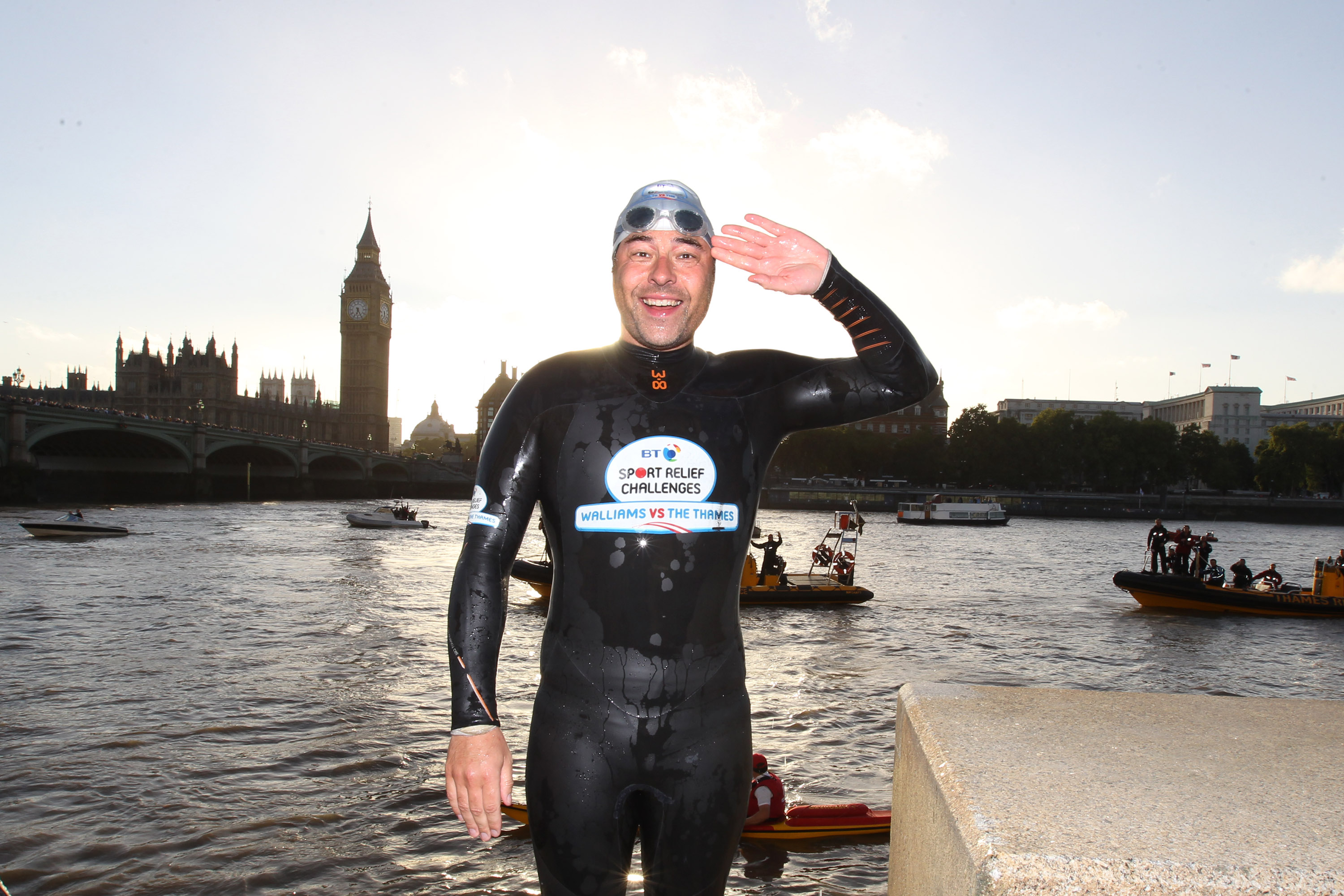 David Walliams after completing his Sport Relief swim (Getty, EH)