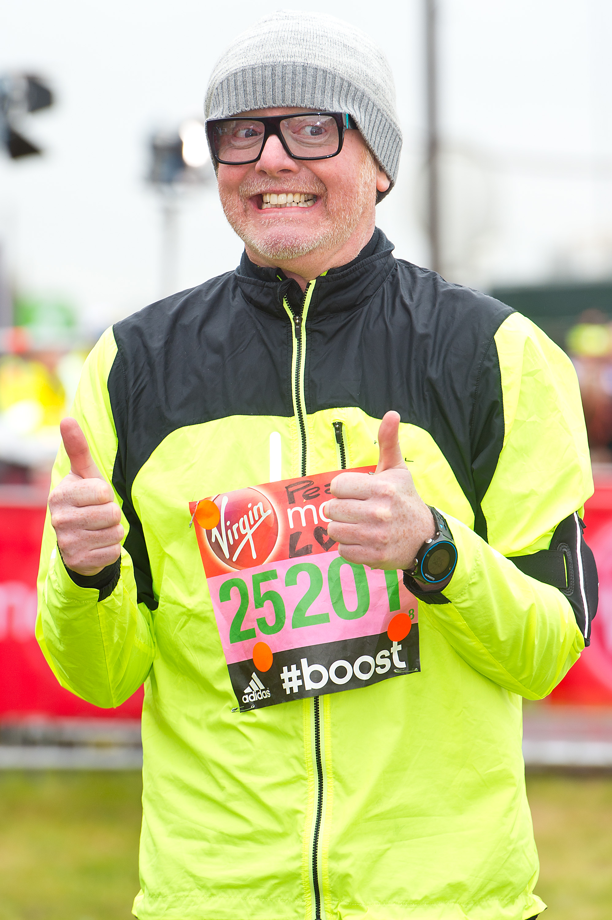 LONDON, ENGLAND - APRIL 26: Chris Evans poses for photographs at the celebrity start at The London Marathon 2015 on April 26, 2015 in London, England. (Photo by Ben A. Pruchnie/Getty Images)