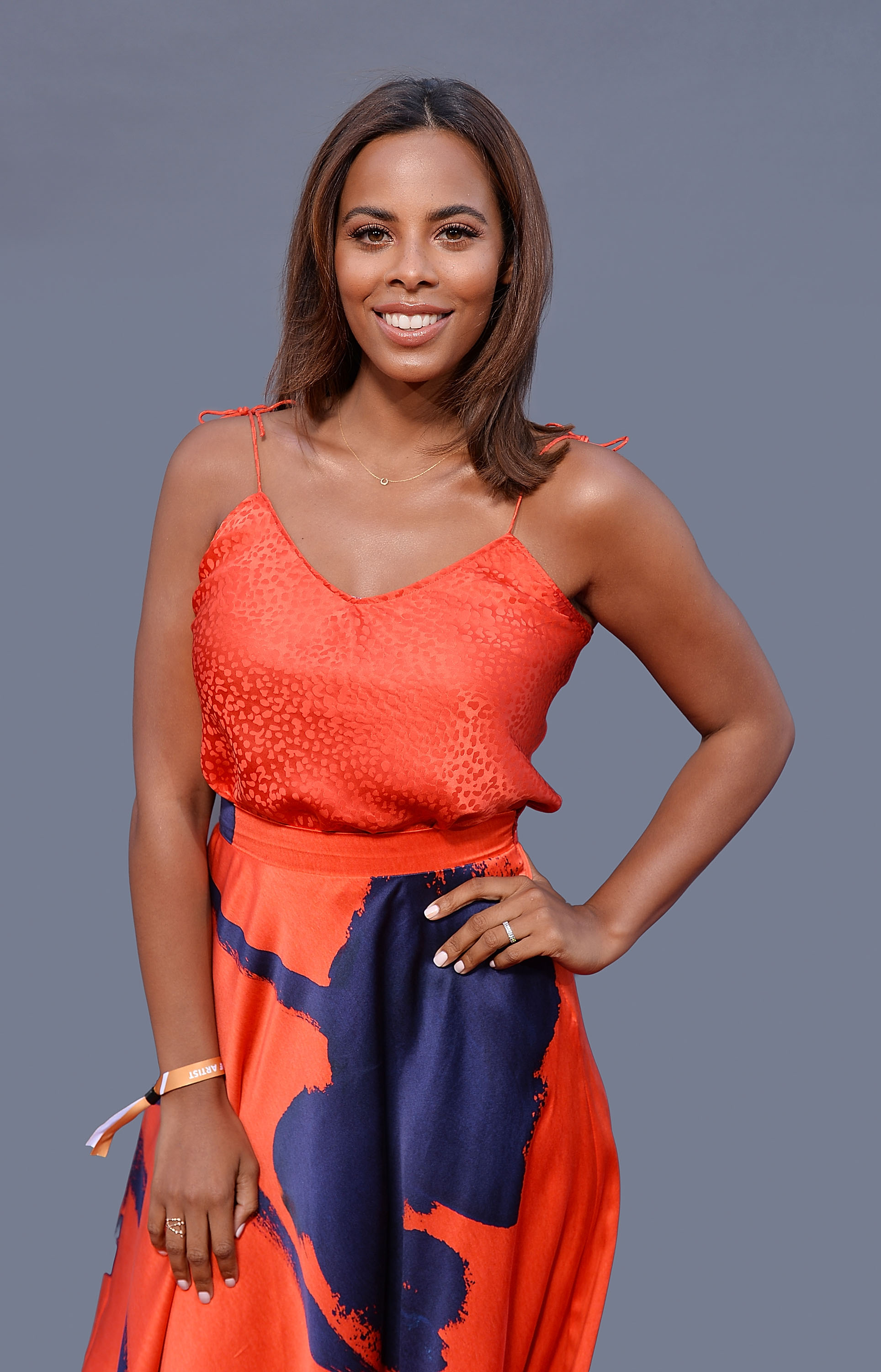 LONDON, ENGLAND - JULY 12: (EDITORS NOTE: This Picture has been digitally retouched.) Rochelle Humes during F1 Live London at Trafalgar Square on July 12, 2017 in London, England. F1 Live London, the first time in Formula 1 history that all 10 teams come together outside of a race weekend to put on a show for the public in the heart of London. (Photo by Jeff Spicer/Getty Images for Formula 1)