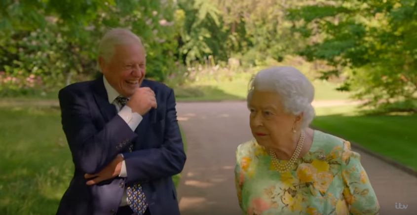 David Attenborough and the Queen, The Queen's Green Planet (ITV trailer screenshot, EH)
