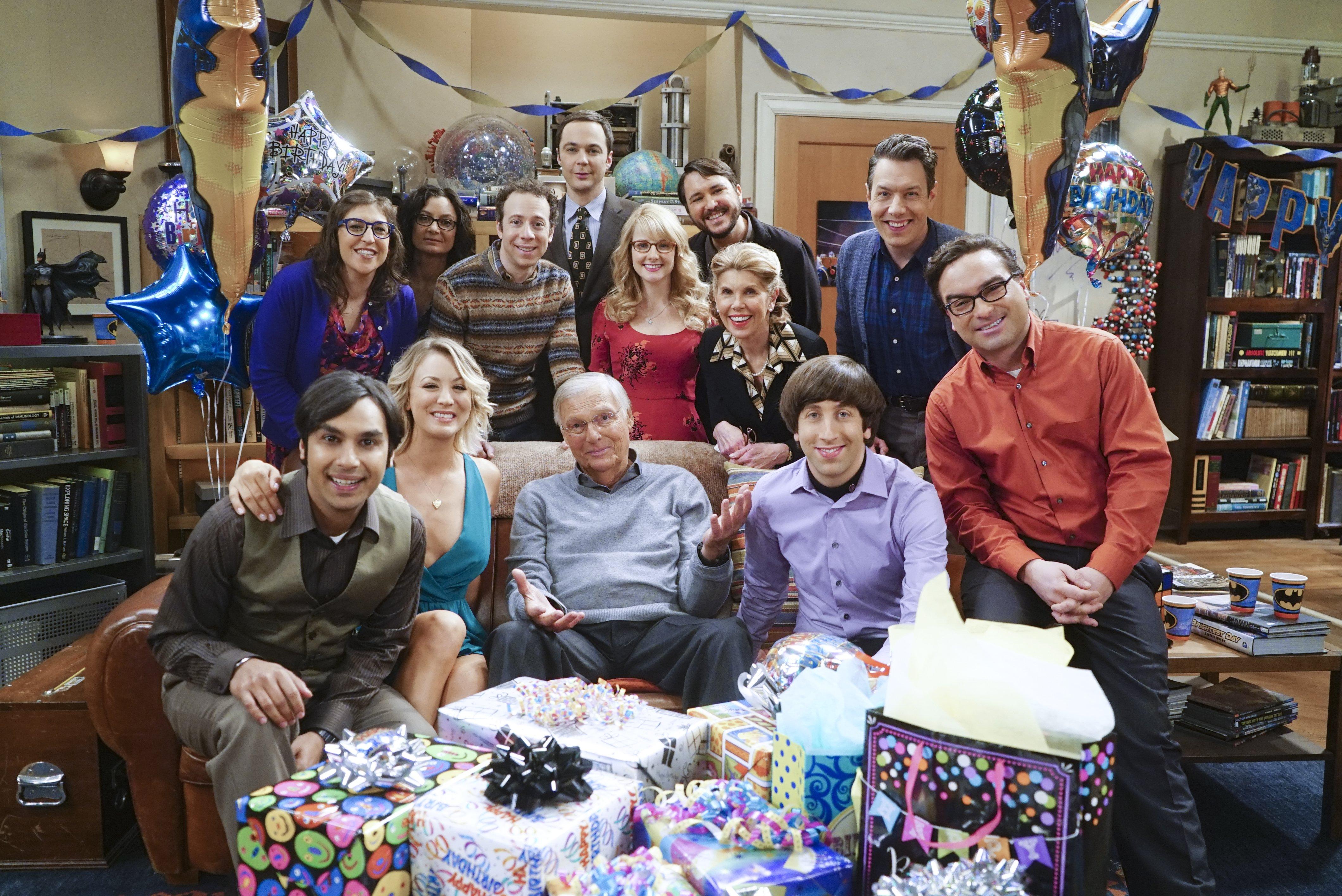 The Big Bang Theory - Series 09 Episode 17 The Celebration Experimentation Characters names Sheldon, Penny, Leonard, Howard, Raj © Warner Bros. Entertainment, Inc.  TL
