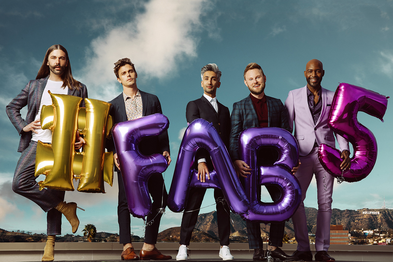 Jonathan Van Ness, Antoni Porowski, Tan France, Bobby Berk, and Karamo Brown pose for Queer Eye season 2 (Netflix)