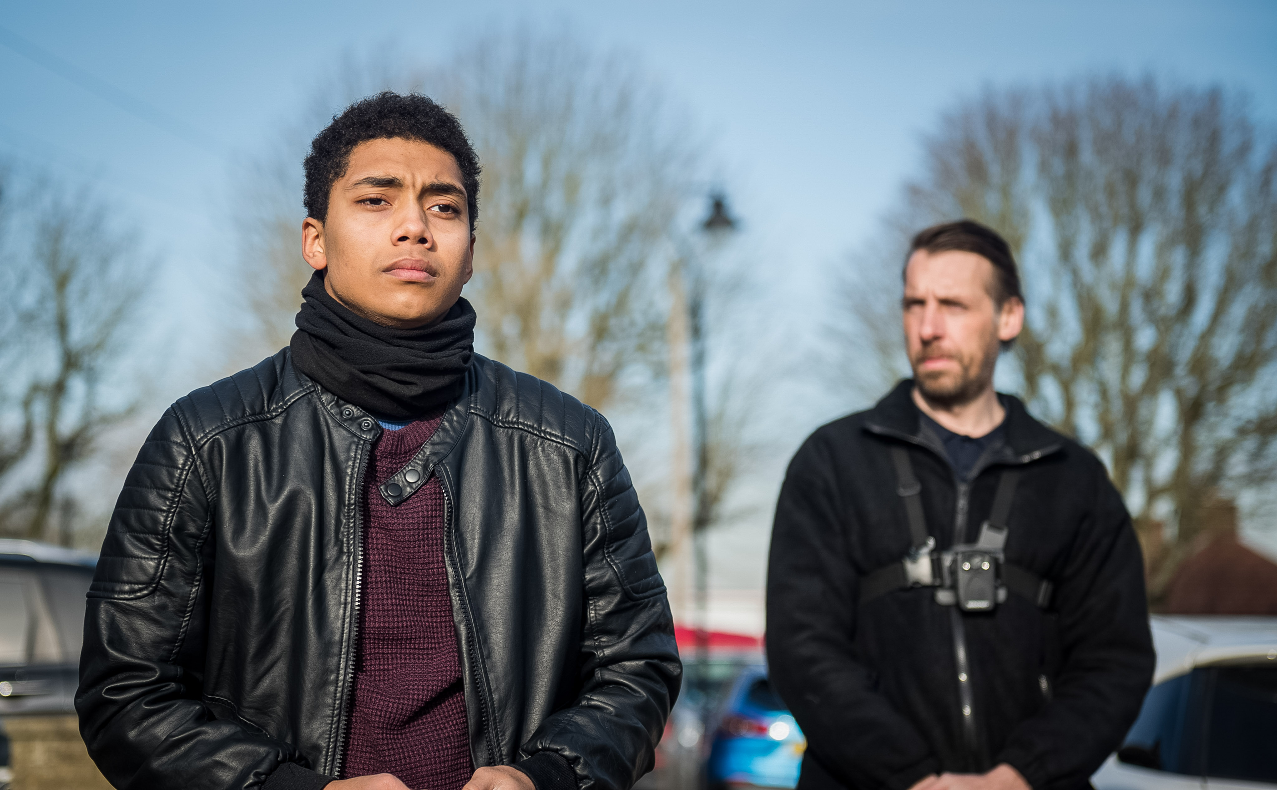 Chance Perdomo and Craig Parkinson in Killed By My Debt (BBC, EH)