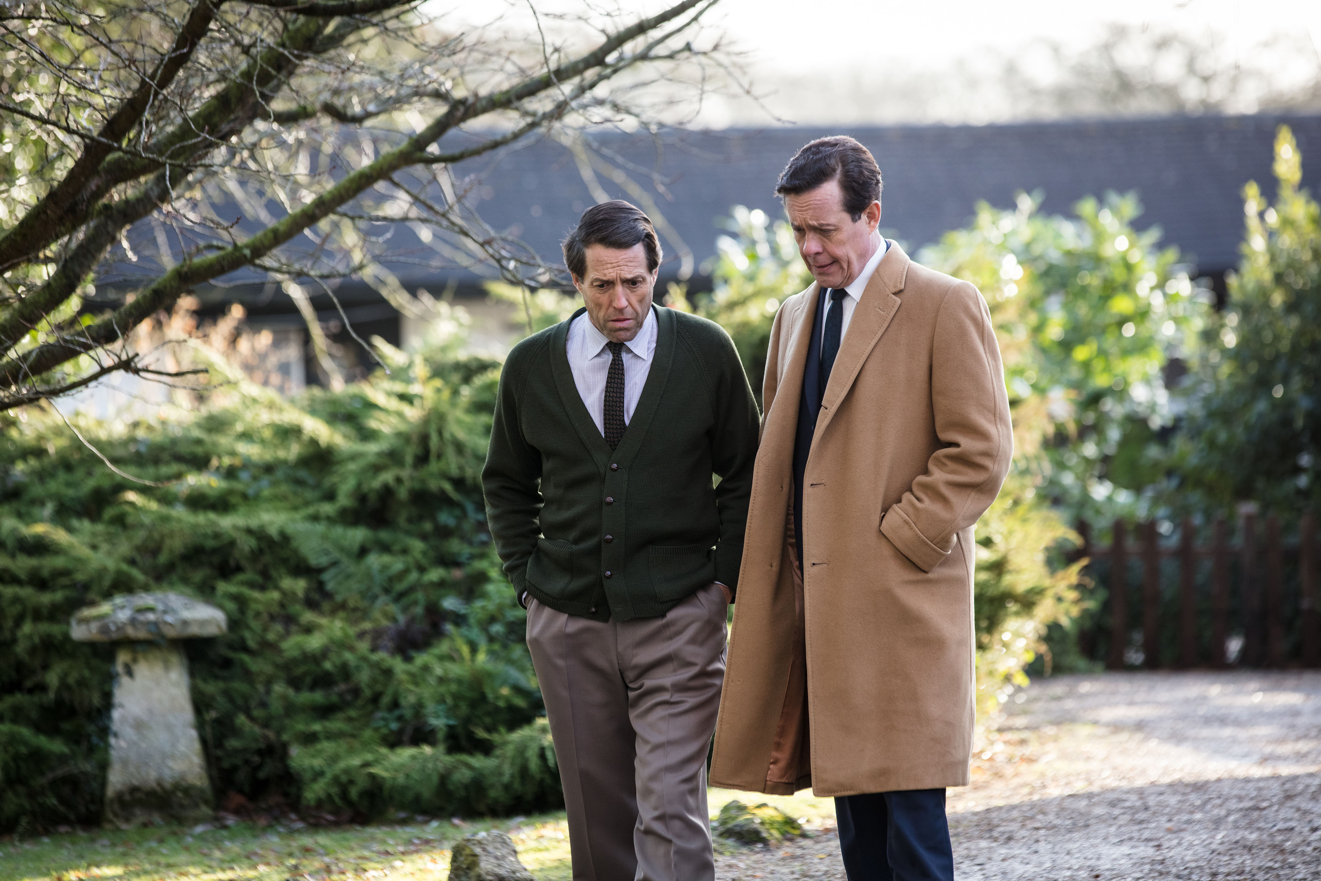 Hugh Grant and Alex Jennings in A Very English Scandal (BBC, EH)