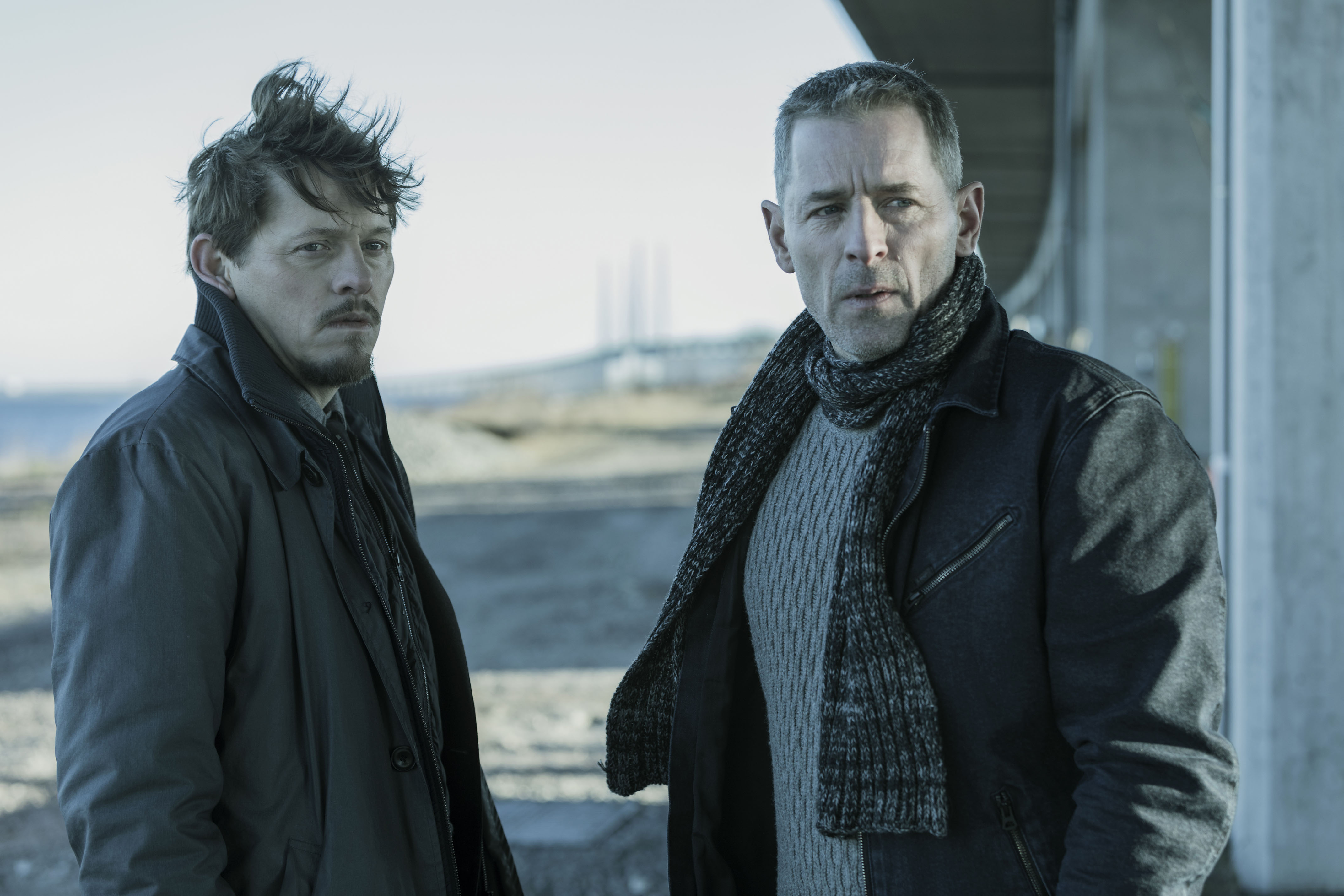 Programme Name: The Bridge - TX: n/a - Episode: n/a (No. 1) - Picture Shows:  Henrik Sabroe (THURE LINDHARDT), Jonas (MIKAEL BIRKKJAER) - (C) Filmlance International AB, Nimbus Film - Photographer: Jens Juncker