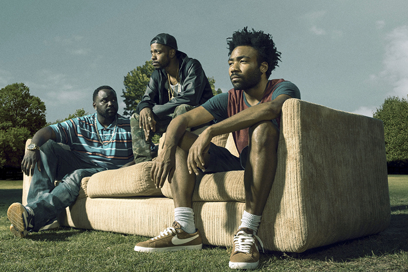 Alfred 'Paper Boi' Miles (BRIAN TYREE HENRY), Darius (LAKEITH STANFIELD), Earnest 'Earn' Marks (DONALD GLOVER) in Atlanta - (BBC, FX, HF)
