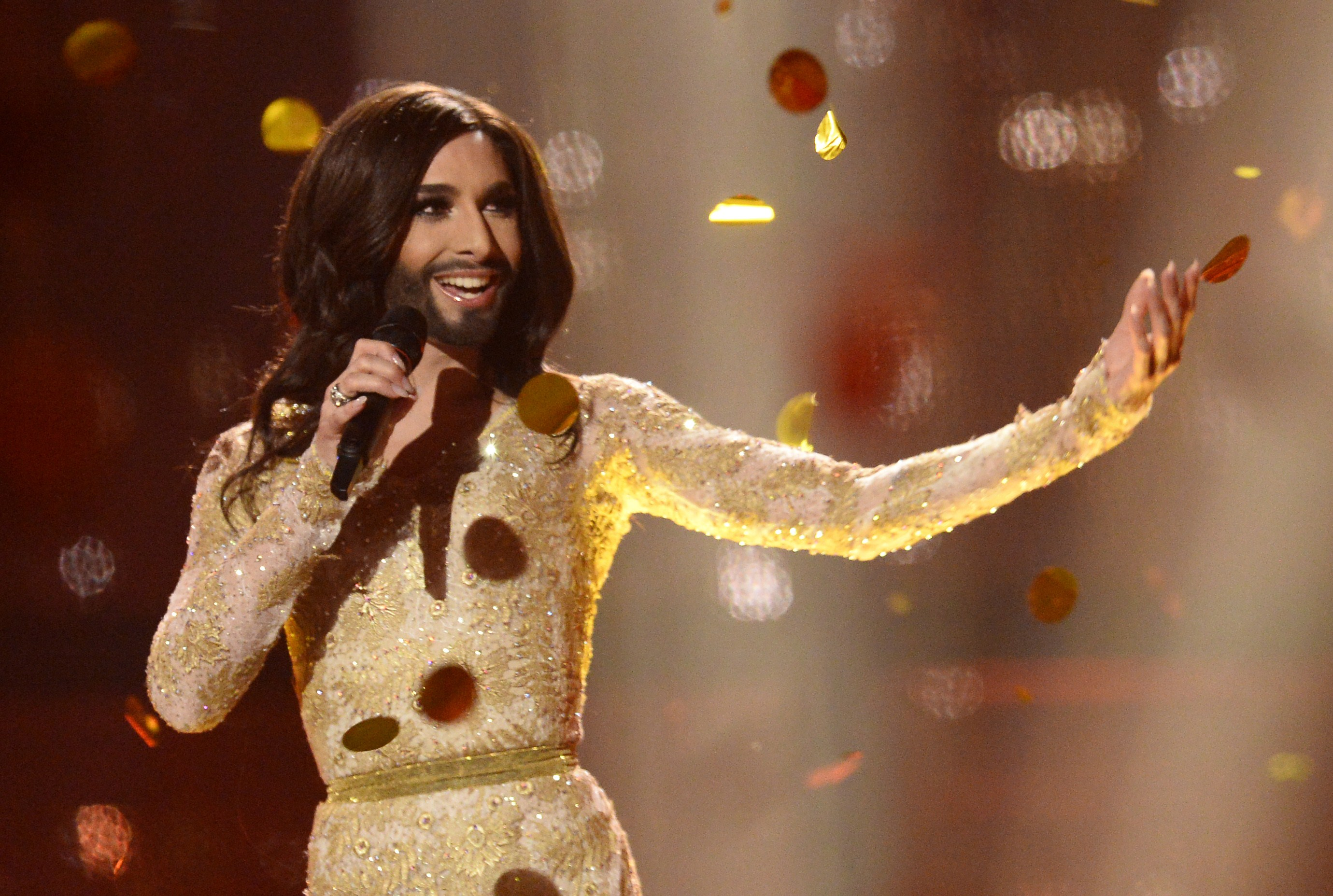 "Conchita Wurst representing Austria performs the song ""Rise Like A Phoenix"" after winning the Eurovision Song Contest 2014 Grand Final in Copenhagen, Denmark, on May 10, 2014. AFP PHOTO/JONATHAN NACKSTRAND        (Photo credit should read JONATHAN NACKSTRAND/AFP/Getty Images)"
