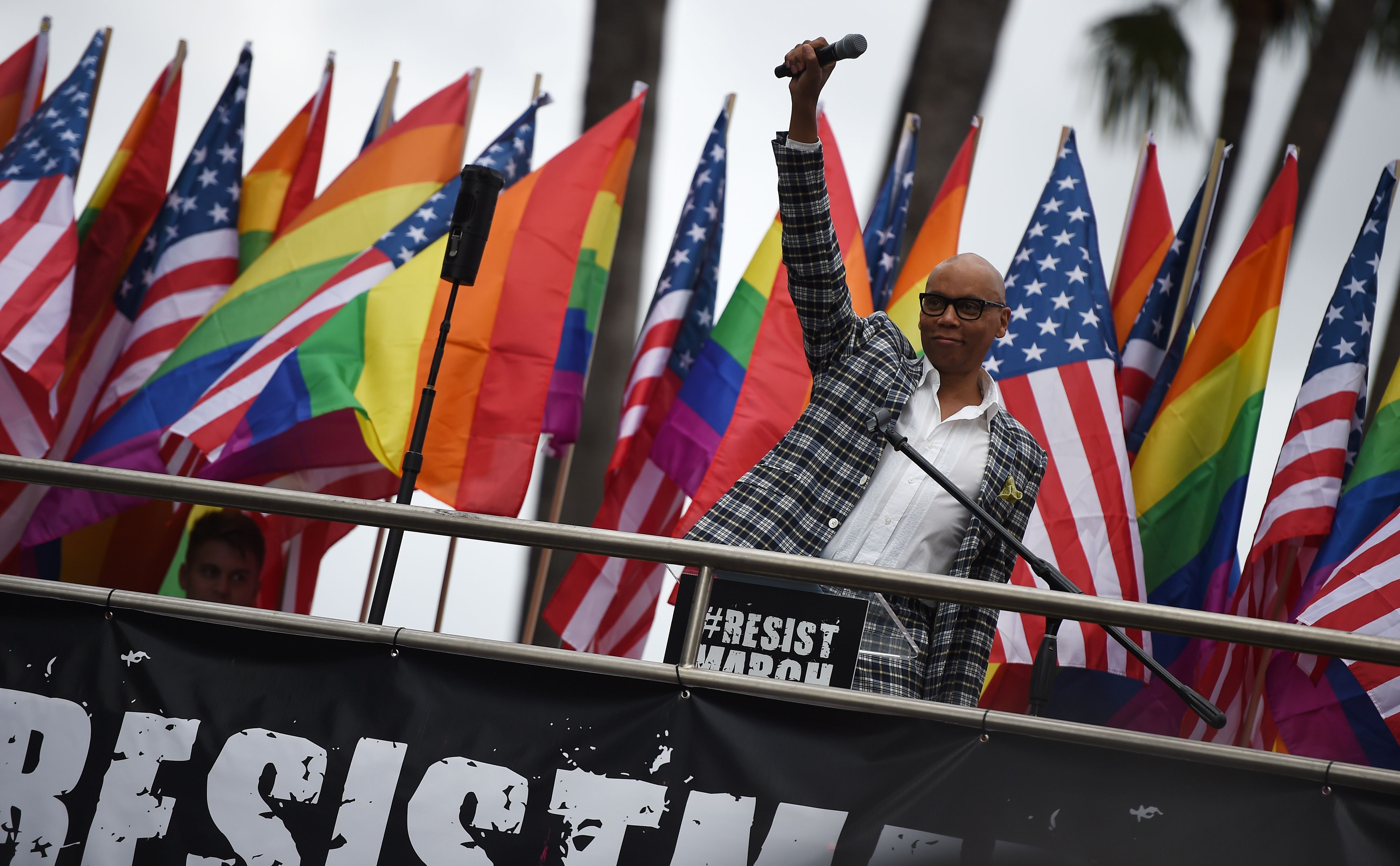 Ru Paul at the LA #ResistMarch in 2017 (Getty, TL)
