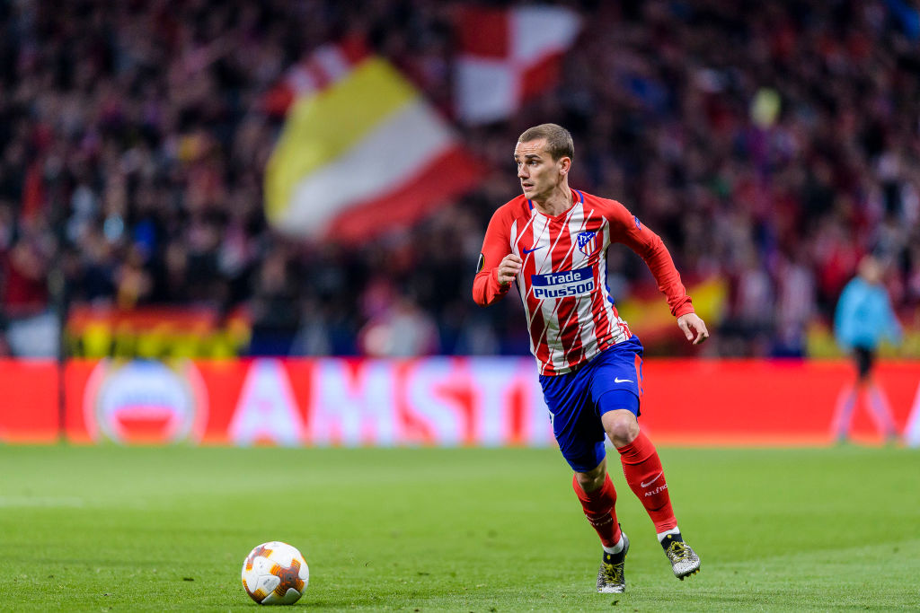 MADRID, SPAIN - MAY 03: Antoine Griezmann of Atletico de Madrid in action during the UEFA Europa League 2017-18 semi-finals (2nd leg) match between Atletico de Madrid and Arsenal FC at Wanda Metropolitano on May 03 2018 in Madrid, Spain. (Photo by Power Sport Images/Getty Images)