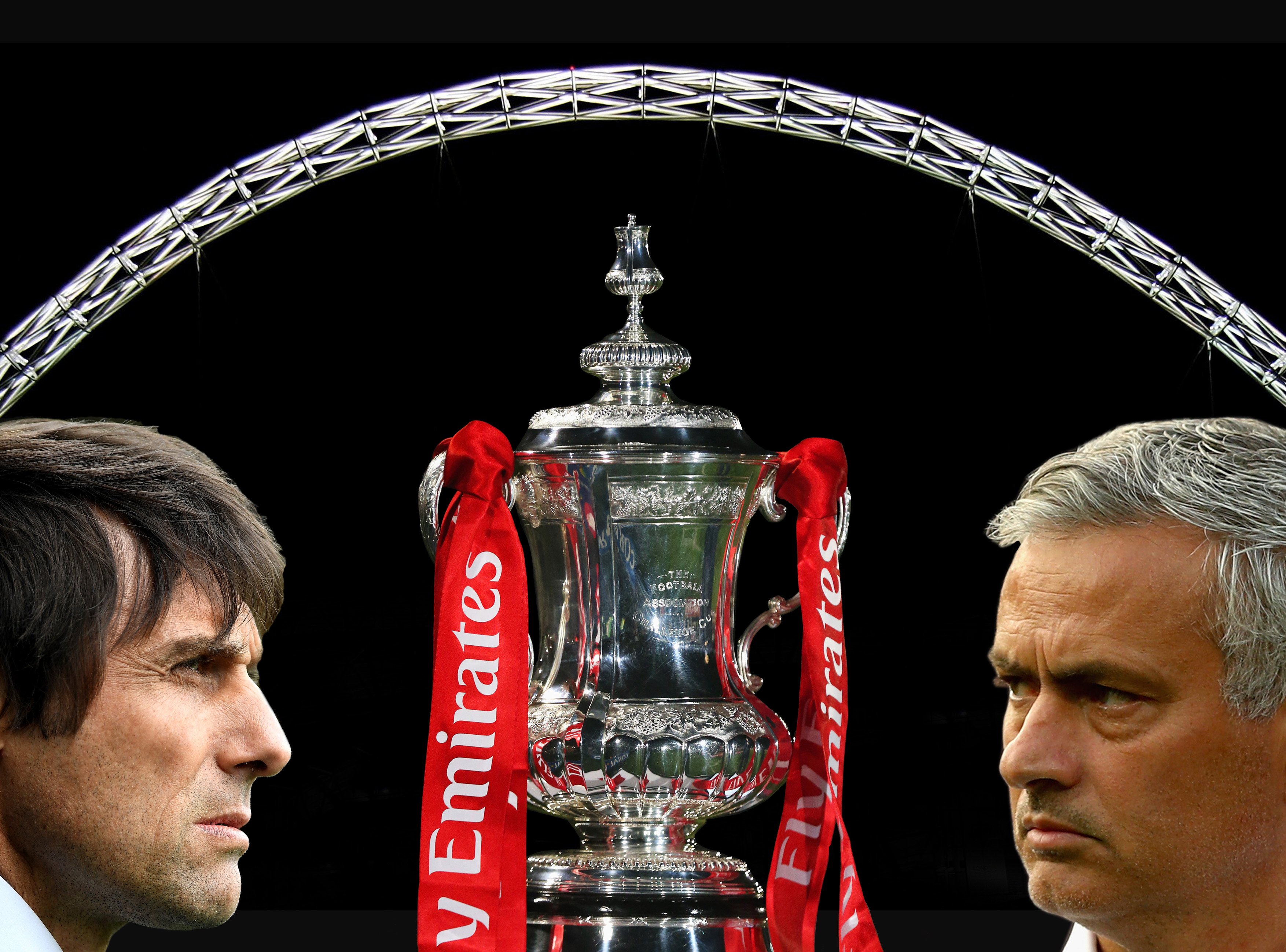 FILE PHOTO (EDITORS NOTE: COMPOSITE OF IMAGES - Image numbers 73035843,496018146,675114354,605866718) In this composite image a comparision has been made between  Antonio Conte, Manager of Chelsea (L) and  Jose Mourinho, Manager of Manchester United. Chelsea and Manchester United meet in the Emirates FA Cup Final at Wembley Stadium on May 19, 2018 in London,United Kingdom.    ***LEFT IMAGE*** LIVERPOOL, ENGLAND - APRIL 30: Antonio Conte, Manager of Chelsea looks on prior to the Premier League match between Everton and Chelsea at Goodison Park on April 30, 2017 in Liverpool, England. (Photo by Laurence Griffiths/Getty Images) ***RIGHT IMAGE***  ROTTERDAM, NETHERLANDS - SEPTEMBER 15: Jose Mourinho, Manager of Manchester United looks on prior to the UEFA Europa League Group A match between Feyenoord and Manchester United FC at Feijenoord Stadion on September 15, 2016 in Rotterdam, . (Photo by Dean Mouhtaropoulos/Getty Images)  Getty, TL