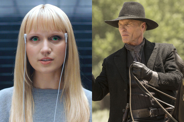 Emily Berrington in Humans and Ed Harris in Westworld (Channel 4, HBO, HF)