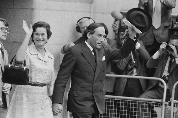 Jeremy Thorpe leaves the Old Bailey with his wife Marion