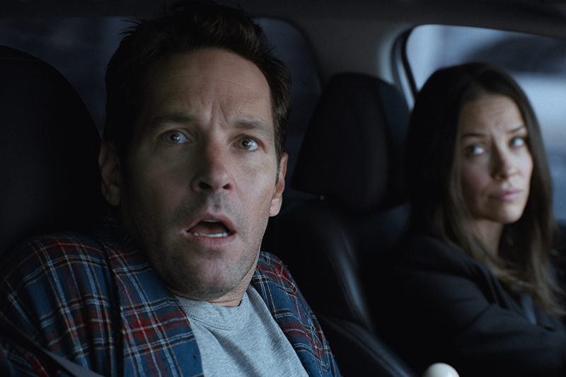 Paul Rudd as Scott Lang/Ant-Man and Evangeline Lilly as Hope Van Dyne/The Wasp (Marvel, HF)