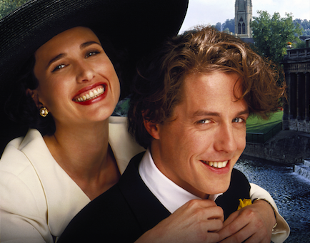 Andie MacDowell and Hugh Grant in Four Weddings and a Funeral (Sky, EH)