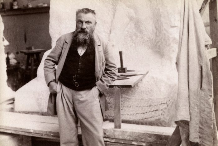 """Auguste Rodin (1840-1917), French sculptor born in Paris (France). Posing in front of his sculpture """"Monument a Sarmiento"""". On July 22, 1898. (Photo by adoc-photos/Corbis via Getty Images)"""