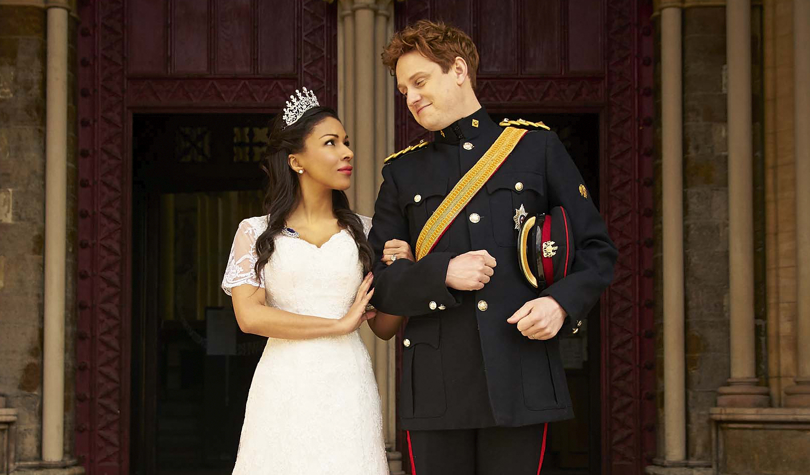 Kathryn Drysdale and Richard Goulding as Meghan Markle and Prince Harry in The Windsors