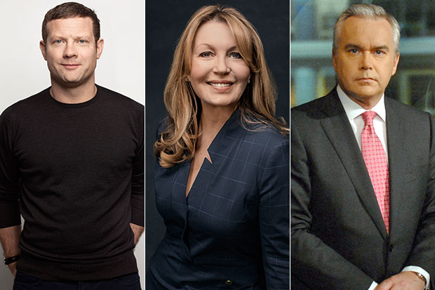 Dermot O'Leary, Kirsty Young and Huw Edwards, BBC Pictures/Getty, SL