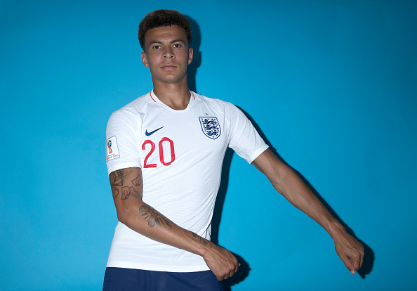 SAINT PETERSBURG, RUSSIA - JUNE 13:  Dele Alli of England poses for a portrait during the official FIFA World Cup 2018 portrait session at on June 13, 2018 in Saint Petersburg, Russia.  (Photo by Clive Rose - FIFA/FIFA via Getty Images)
