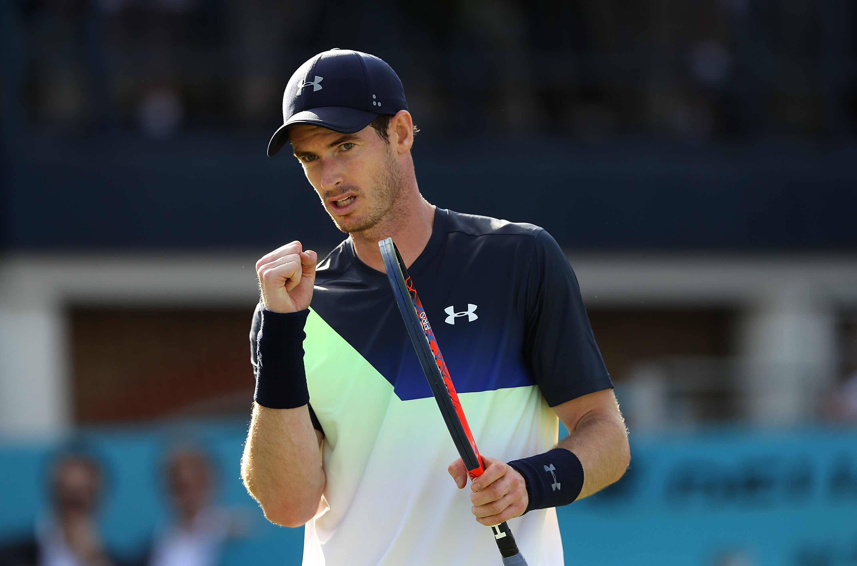 LONDON, ENGLAND - JUNE 19:  Andy Murray of Great Britain celebrates winning a point during his match against Nick Kyrgios of Australia on Day Two of the Fever-Tree Championships at Queens Club on June 19, 2018 in London, United Kingdom.  (Photo by Matthew Stockman/Getty Images)  TL