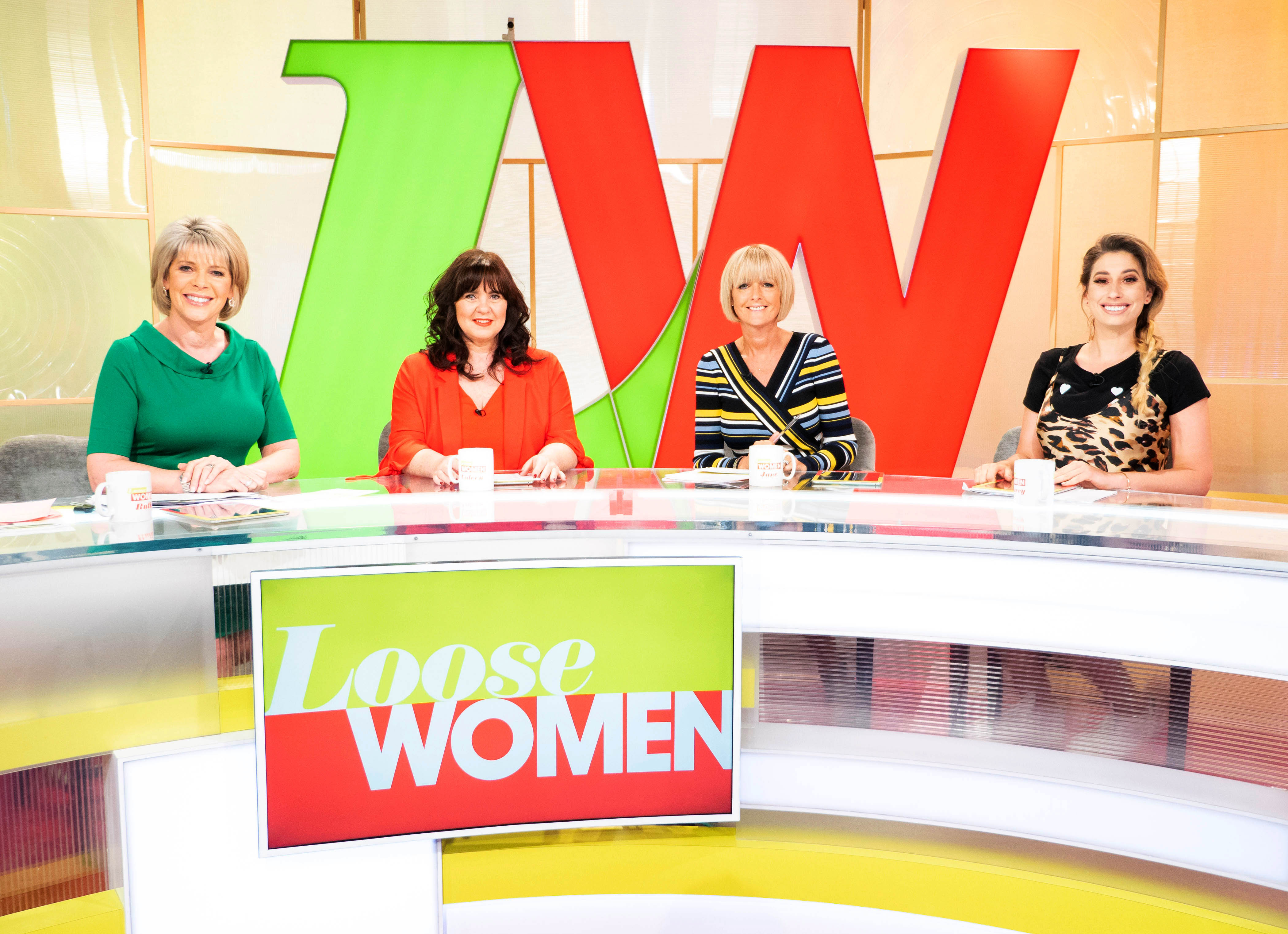 From ITV Daytime  LOOSE WOMEN Weekdays on ITV   Pictured: (l-r) Ruth Langsford, Coleen Nolan, Jane Moore and Stacey Solomon  Photographer: Ken McKay   (c) ITV  For further information please contact Peter Gray 0207 157 3046 peter.gray@itv.com    This photograph is © ITV and can only be reproduced for editorial purposes directly in connection with the  programme LOOSE WOMEN or ITV. Once made available by the ITV Picture Desk, this photograph can be reproduced once only up until the Transmission date and no reproduction fee will be charged. Any subsequent usage may incur a fee. This photograph must not be syndicated to any other publication or website, or permanently archived, without the express written permission of ITV Picture Desk. Full Terms and conditions are available on the website www.itvpictures.com